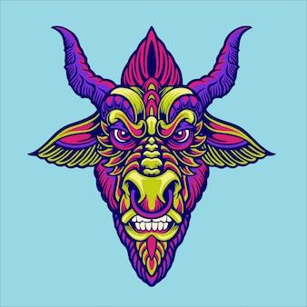 Ilustração de mascote de cabeça baphomet