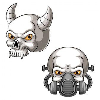 Ilustração de mascote de cabeça de crânio