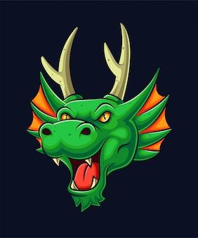 Ilustração de mascote de cabeça de dragão verde