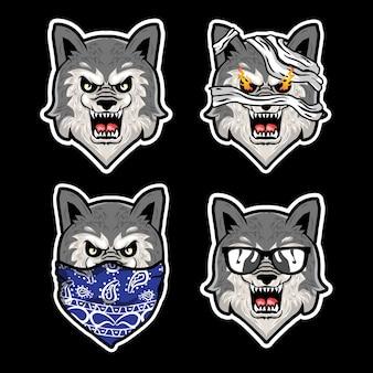 Ilustração de mascote de cabeça de lobo
