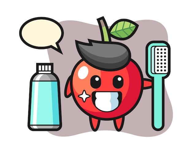 Ilustração de mascote de cereja com uma escova de dentes, design de estilo bonito