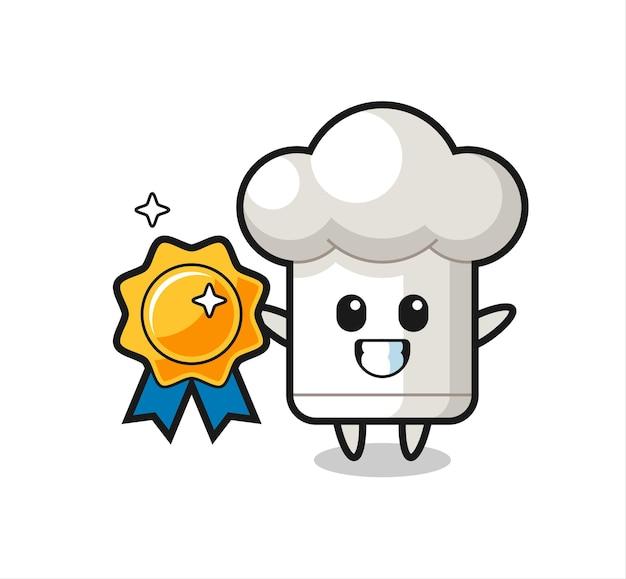 Ilustração de mascote de chapéu de chef segurando um distintivo dourado, design de estilo fofo para camiseta, adesivo, elemento de logotipo