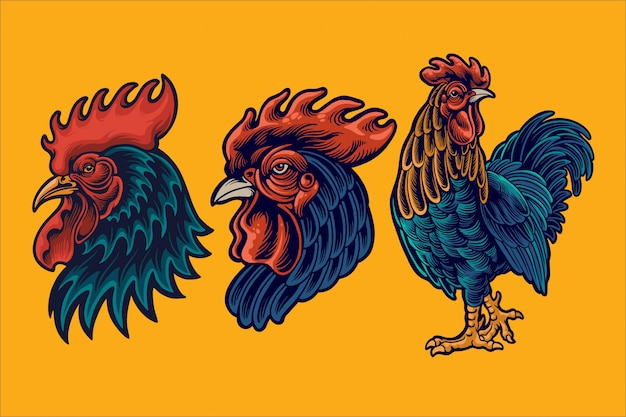 Ilustração de mascote de galo