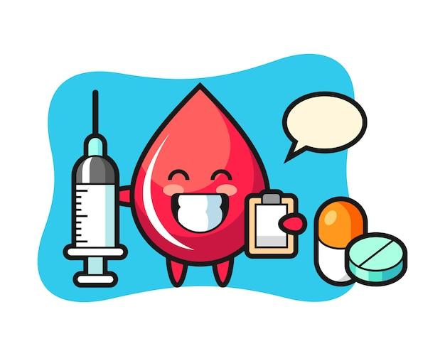 Ilustração de mascote de gota de sangue como um médico, estilo fofo, adesivo, elemento de logotipo