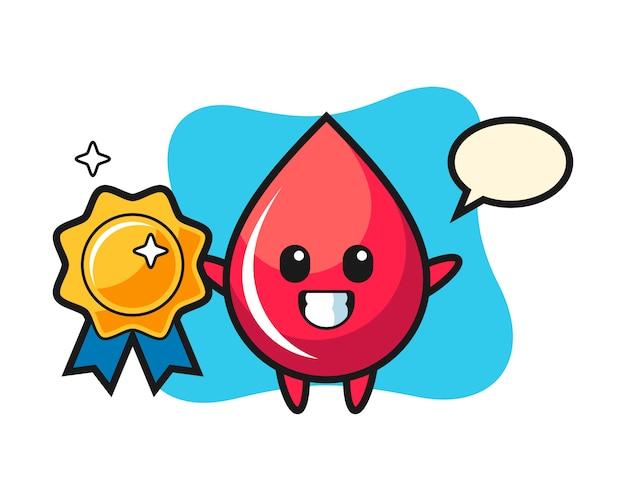 Ilustração de mascote de gota de sangue segurando um distintivo dourado, estilo fofo, adesivo, elemento de logotipo