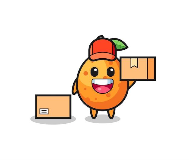 Ilustração de mascote de kumquat como mensageiro, design de estilo fofo para camiseta, adesivo, elemento de logotipo