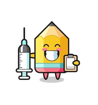 Ilustração de mascote de lápis como um médico, design de estilo fofo para camiseta, adesivo, elemento de logotipo