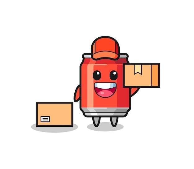 Ilustração de mascote de lata de bebida como correio, design de estilo fofo para camiseta, adesivo, elemento de logotipo