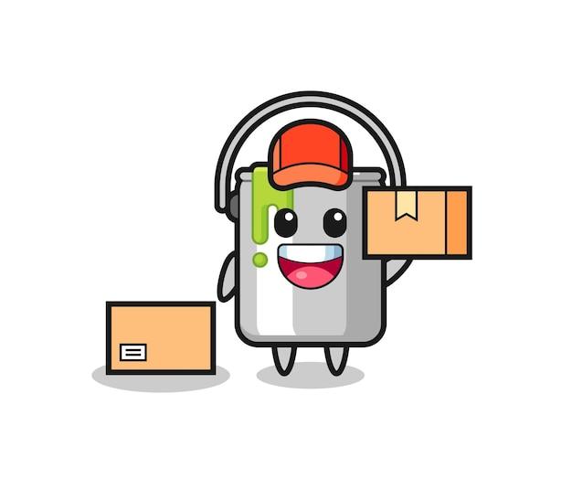 Ilustração de mascote de lata de tinta como um correio, design de estilo fofo para camiseta, adesivo, elemento de logotipo