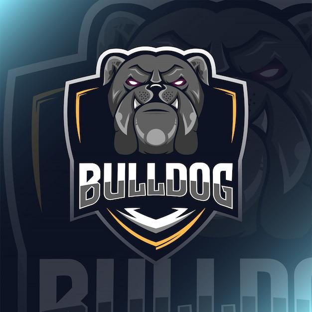 Ilustração de mascote de logotipo de buldogue para companheiro de equipe