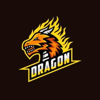 Ilustração de mascote de logotipo de dragão