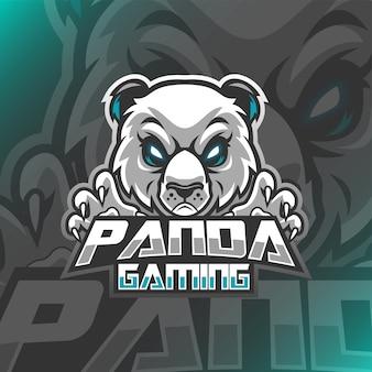 Ilustração de mascote de logotipo de jogos de panda