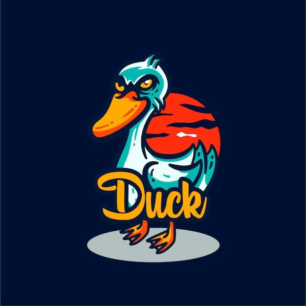 Ilustração de mascote de logotipo de pato