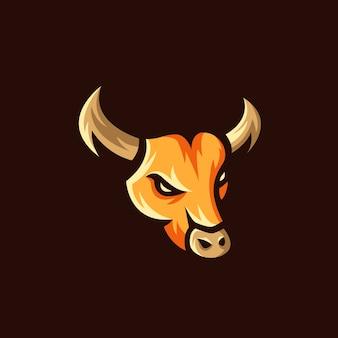 Ilustração de mascote de logotipo de touro