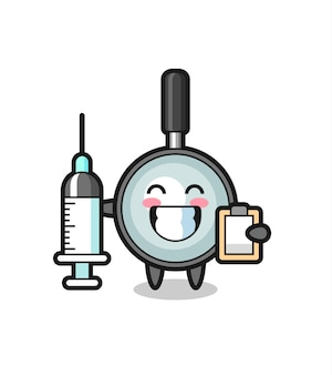 Ilustração de mascote de lupa como um médico, design de estilo fofo para camiseta, adesivo, elemento de logotipo