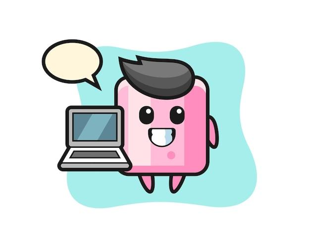 Ilustração de mascote de marshmallow com um laptop, design de estilo fofo para camiseta, adesivo, elemento de logotipo