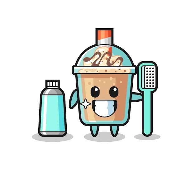 Ilustração de mascote de milk-shake com escova de dentes, design de estilo fofo para camiseta, adesivo, elemento de logotipo