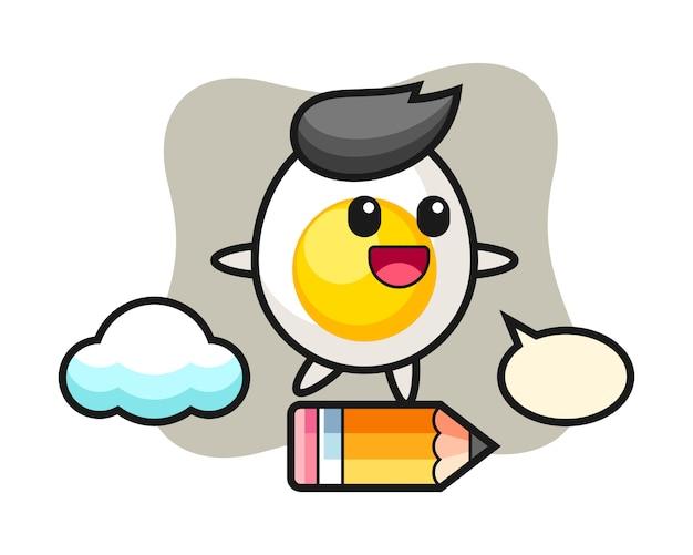 Ilustração de mascote de ovo cozido, montando um lápis gigante