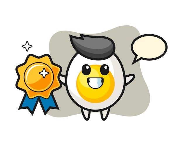 Ilustração de mascote de ovo cozido, segurando um emblema de ouro