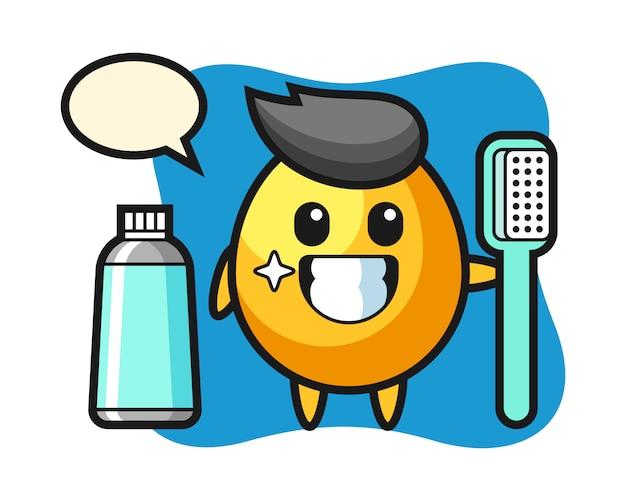 Ilustração de mascote de ovo de ouro com uma escova de dentes, design de estilo bonito