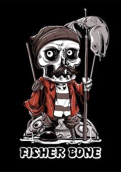 Ilustração de mascote de peixe caveira de osso de pescador