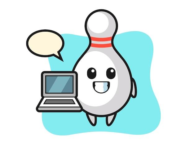 Ilustração de mascote de pino de boliche com um laptop, design de estilo fofo para camiseta, adesivo, elemento de logotipo