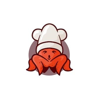 Ilustração de mascote de polvo, perfeita para mercado de logotipo, comida ou etc.