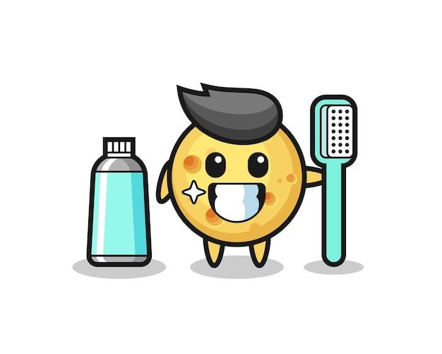 Ilustração de mascote de queijo redondo com uma escova de dentes, design de estilo fofo para camiseta, adesivo, elemento de logotipo
