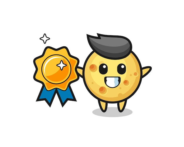 Ilustração de mascote de queijo redondo segurando um emblema dourado, design de estilo fofo para camiseta, adesivo, elemento de logotipo