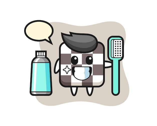 Ilustração de mascote de tabuleiro de xadrez com escova de dentes, design de estilo fofo para camiseta, adesivo, elemento de logotipo