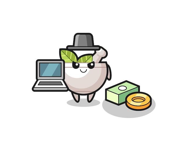Ilustração de mascote de tigela de ervas como um hacker, design de estilo fofo para camiseta, adesivo, elemento de logotipo