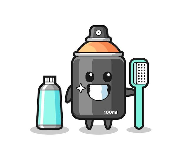 Ilustração de mascote de tinta spray com uma escova de dentes, design de estilo fofo para camiseta, adesivo, elemento de logotipo