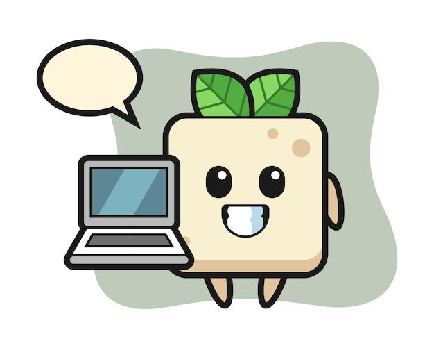 Ilustração de mascote de tofu com um laptop, design de estilo bonito para camiseta