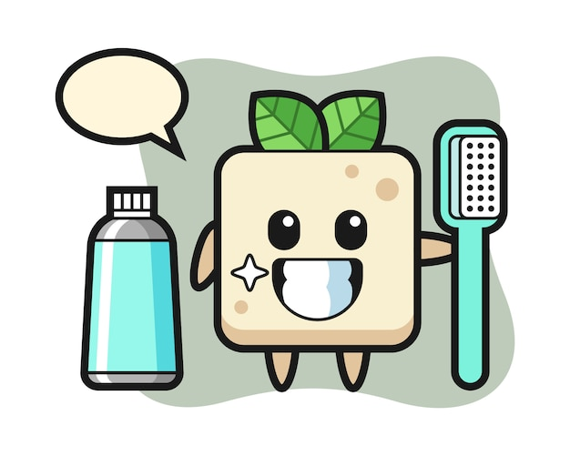 Ilustração de mascote de tofu com uma escova de dentes, design de estilo bonito para camiseta