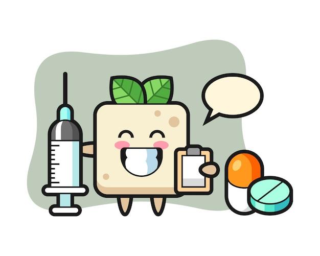 Ilustração de mascote de tofu como médico, design de estilo bonito para camiseta