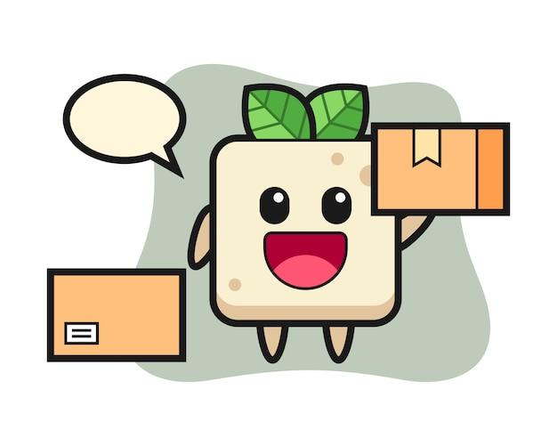 Ilustração de mascote de tofu como um correio, design de estilo bonito para camiseta