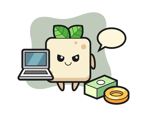 Ilustração de mascote de tofu como um hacker, design de estilo bonito para camiseta