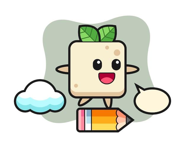 Ilustração de mascote de tofu montando um lápis gigante, design de estilo bonito para camiseta