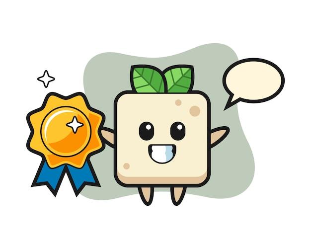Ilustração de mascote de tofu segurando um distintivo dourado, design de estilo bonito para camiseta