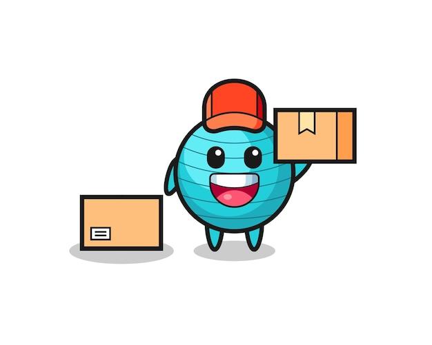 Ilustração de mascote de uma bola de exercícios como um correio, design de estilo fofo para camiseta, adesivo, elemento de logotipo