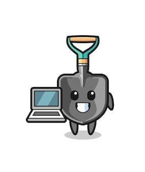 Ilustração de mascote de uma pá com um laptop, design fofo