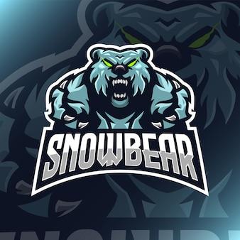 Ilustração de mascote de urso de neve para equipe