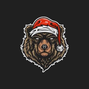Ilustração de mascote de urso de santa