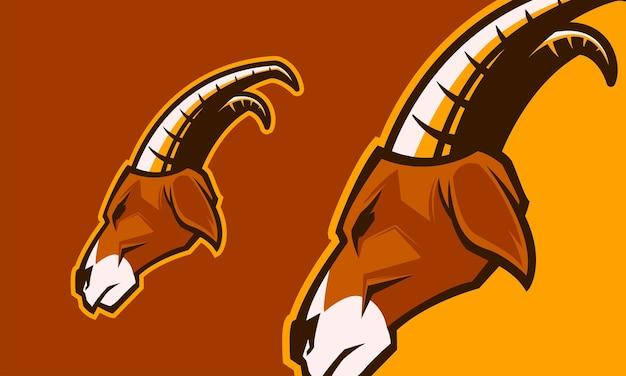 Ilustração de mascote de vetor premium cabeça de cabra ram
