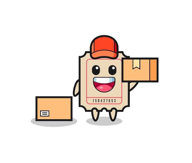 Ilustração de mascote do bilhete como um correio, design de estilo fofo para camiseta, adesivo, elemento de logotipo