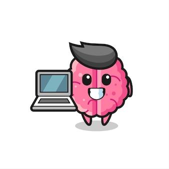 Ilustração de mascote do cérebro com um laptop, design de estilo fofo para camiseta, adesivo, elemento de logotipo