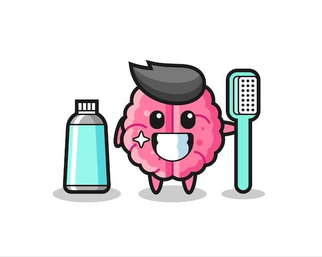 Ilustração de mascote do cérebro com uma escova de dentes, design de estilo fofo para camiseta, adesivo, elemento de logotipo