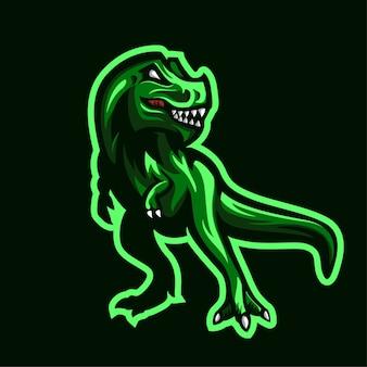 Ilustração de mascote do dinossauro trex logo