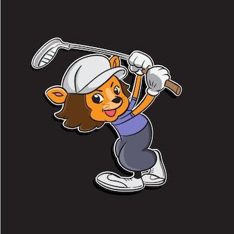 Ilustração de mascote dos desenhos animados de um menino de leão balançando o taco de golfe