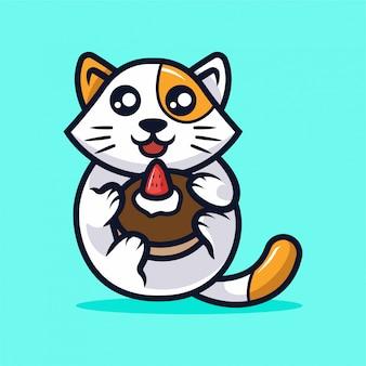 Ilustração de mascote gato bonito